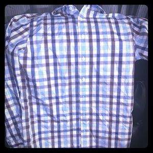 Blue and Brown Striped Button Down Men's Shirt